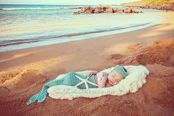 Baby mermaid photo prop 36 months 4 piece set by WillowsGarden, $52.00