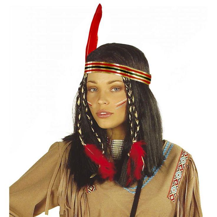 Cette perruque pour femme sera parfaite pour finaliser votre déguisement d'indienne, le bandeau, les tresses avec plumes sont fournis avec! Elle reprend tous les attributs des cheveux des indiennes, cheveux noires, raides, bandeau, tresses...