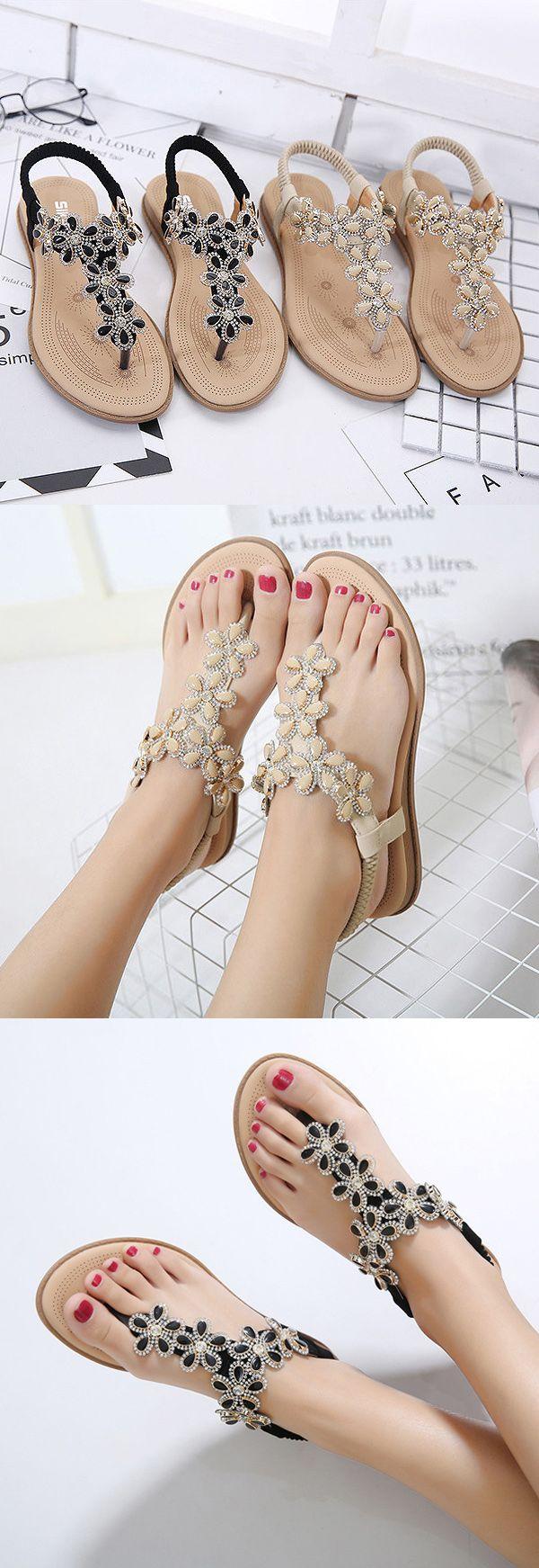US$19.55 Beaded Flower Clip Toe Crystal Flat Elastic Beach Sandals