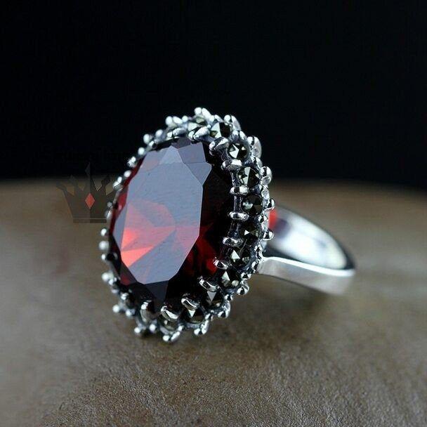 925 Sterling Silver Prong Set Ring,Quartz Ring,Beautiful Gift Ring Garnet Quartz Ring Junuary Birthstone Ring,Red Ring,Cushion Cut Stone