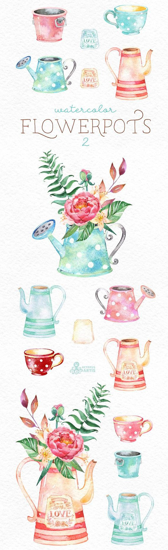 This Watercolor Flowerpots 2 set of hand painted watercolor images. Perfect graphic for diy projects, wedding invitations, greeting cards, photos, posters, quotes and more. ----------------------------------------------------------------- This listing includes: 16 x Images in PNG with