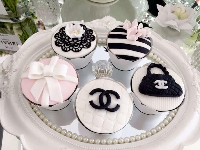 Cupcakes from a Chanel Inspired Birthday Party via Kara's Party Ideas | KarasPartyIdeas.com (32)