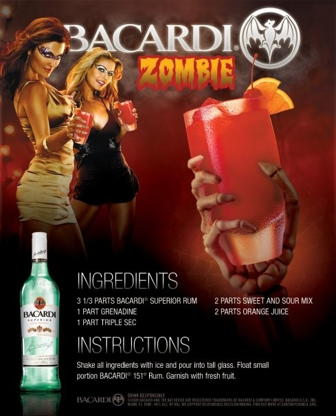 31 Days of Halloween - Day 3 - Drink of the Day - Bacardi Zombie- - 09/03/12