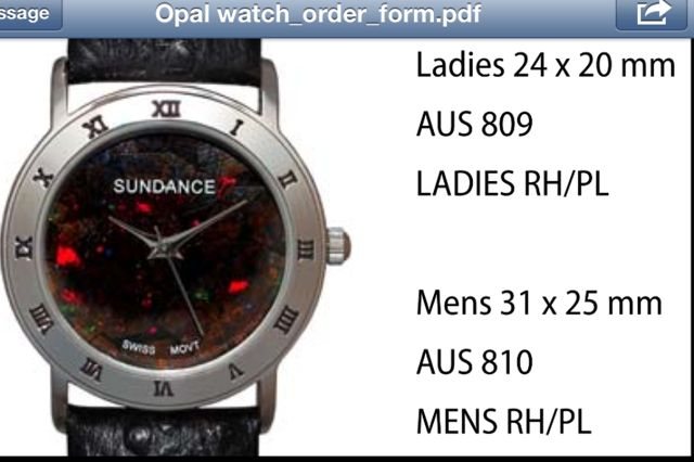 "Australian ""Boulder"" Opal Watches style 810 Mens RH/PL 31 x 25 mm each click here to add to cart"