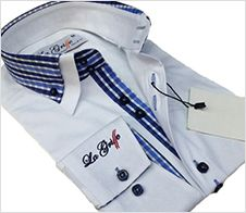 Mens Smart, Causal, Slim Fit, Double Collar, Italian Design Shirt - White, With Blue Shades Checked Pattern, Inner Cuffs, & Double Collar - ONLY at  A2Z Fashion - £34.99 FREE UK DELIVERY - (Ship Worldwide)