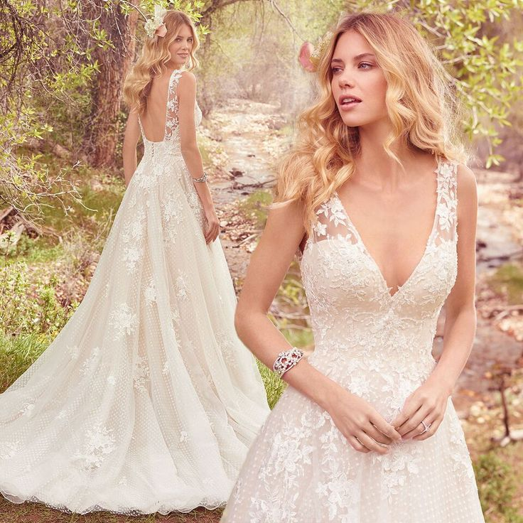V neck low back wedding dress in the style Meryl from @maggiesottero #maggiesottero #maggiebride