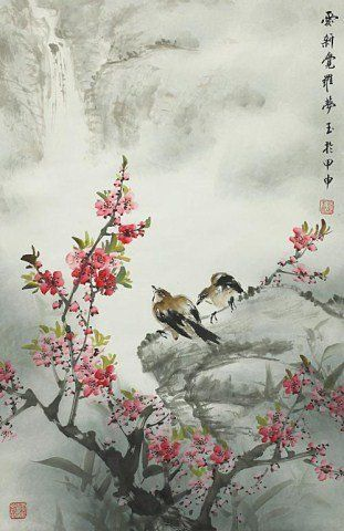 CHINESE SCROLL PAINTING OF FLOWERS AND BIRDS : Lot 117