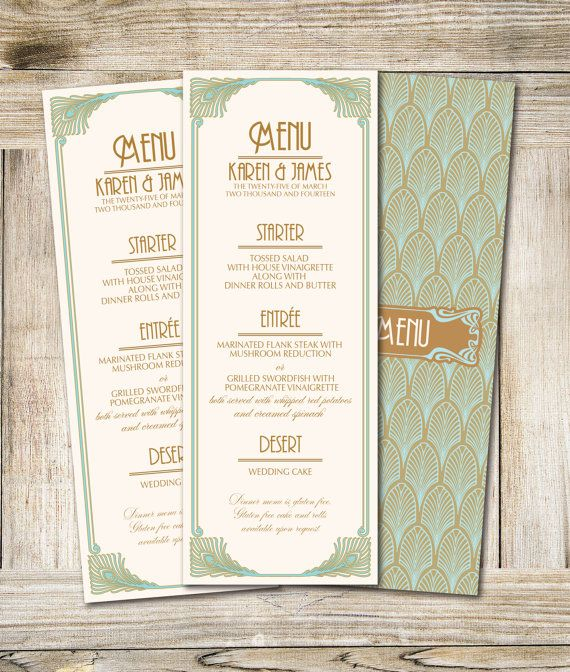 Art Deco Printable Wedding Menu  3,5 x 9,25 in- Dyi Wedding Menu