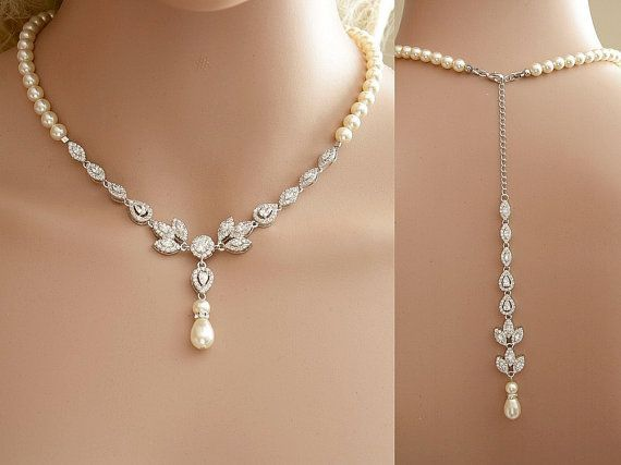 Bridal Backdrop Necklace Cubic Zirconia and Pearl Necklace Wedding Crystal Back Drop Necklace Bridal Back Necklace, Amity                                                                                                                                                                                 More