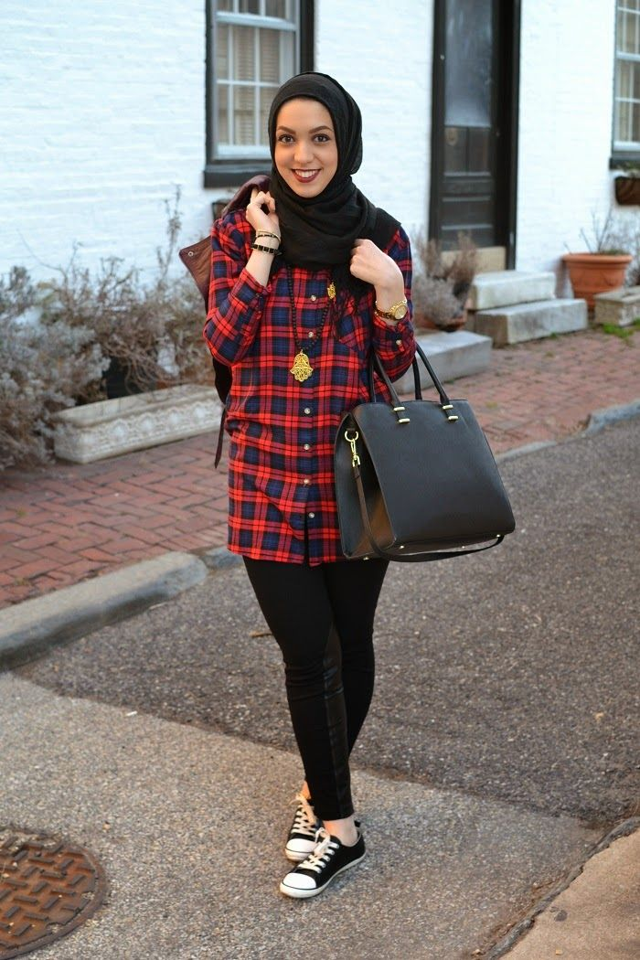 plaid top, hamsa hand necklace, hani hulu hijabi fashion