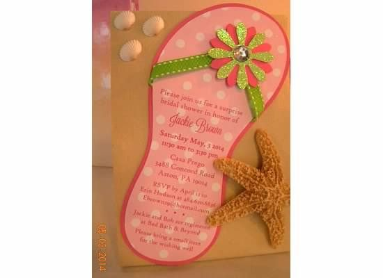Flip Flop invitation on tan card stock and with shells