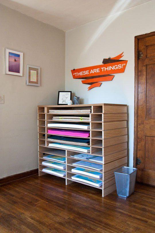 DIY-looking poster storage