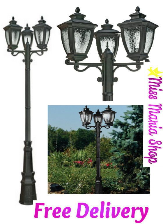 Lamp Post Outside Lights Garden Street 3 head Cast Aluminium Black UV Protection