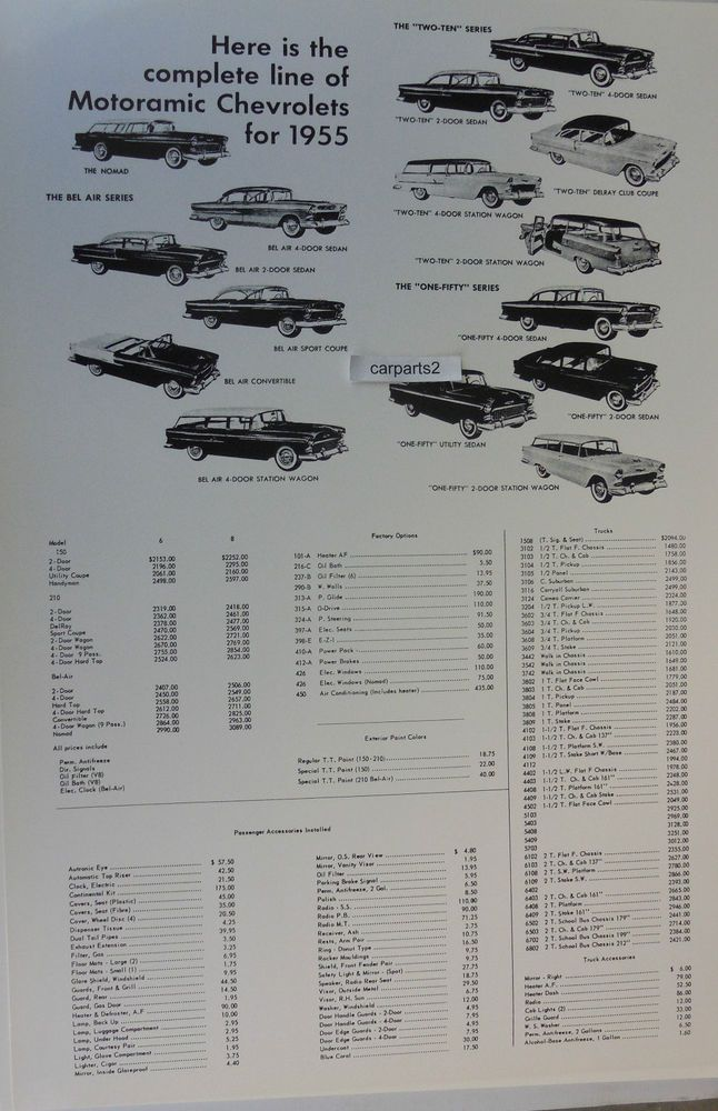 "1955 Chevrolet prices for cars truck accessories 12 By 18"" Black & White Picture"