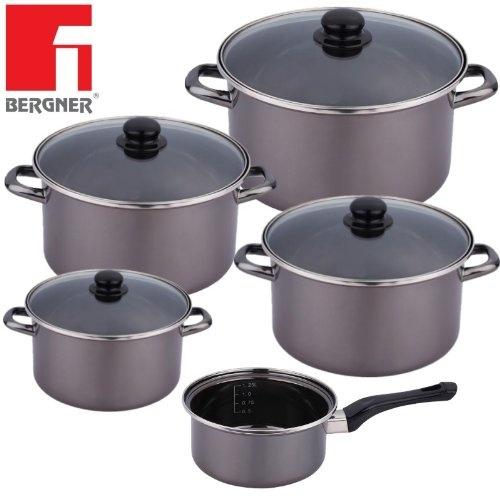 Bergner Topf Set, Topfset, Kochtopfset, Kochtopf Set, Induktionskochtopfset - auch für Induktion - 9 teilig