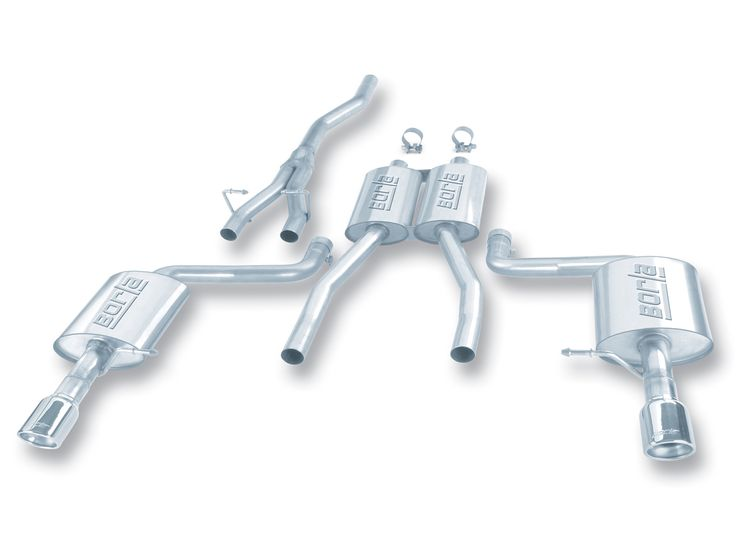 """Audi A4 Quattro 1.8t 2002-2003 Borla 2"""" Cat-Back Exhaust System - Single Round Rolled Angle-Cut Lined"""