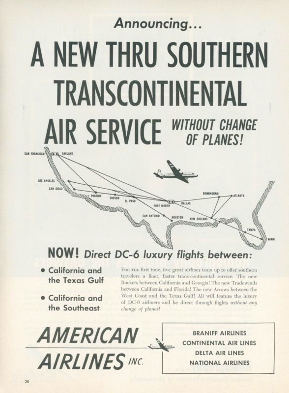 1951 American Airlines New Thru Southern Service Douglas Route Map
