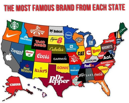 The most famous brand each state has created...
