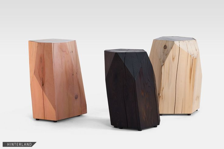 LITTLE GEM  A side table and sculpture for indoors or out, it's made from cast-off cedar logs given second life as a crystalline form. Each piece is hand-shaped and faceted based on the different characteristics of the log used, and variations in wood grain. Top surface and finish further ensure that no two are alike. Left to weather outdoors, this piece will acquire a natural silver finish.  MATERIALS Western red or yellow cedar
