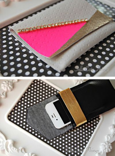 No-Sew leather scraps into phone case or wallet