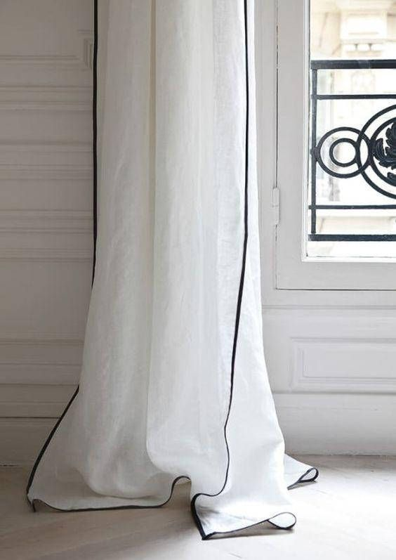 Linen Curtain finished with Trim, 40+ colors, Mix and Match your way Custom Size, Custom Made