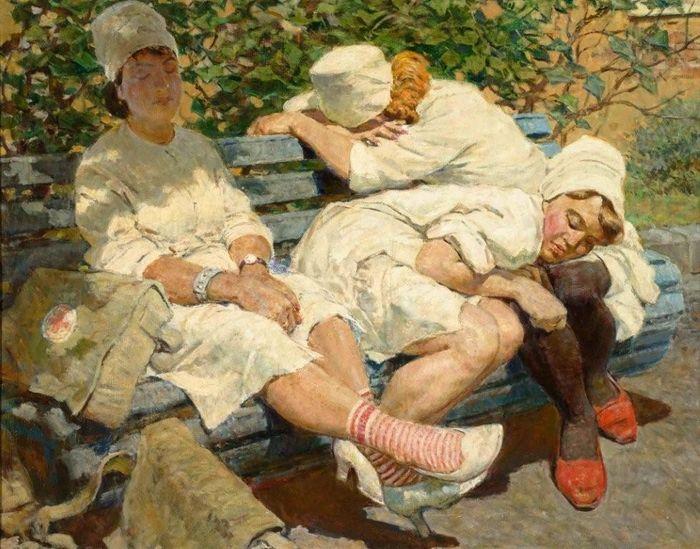 Котляров Лев Серафимович (1925 — 2007) Медсестрички. Отдых после дежурства (1956)