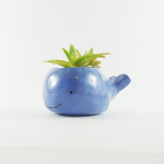 Here you have a small ceramic whale planter painted blue.  I make this pot by shaping a pinch pot with white clay, adding a tail and carving