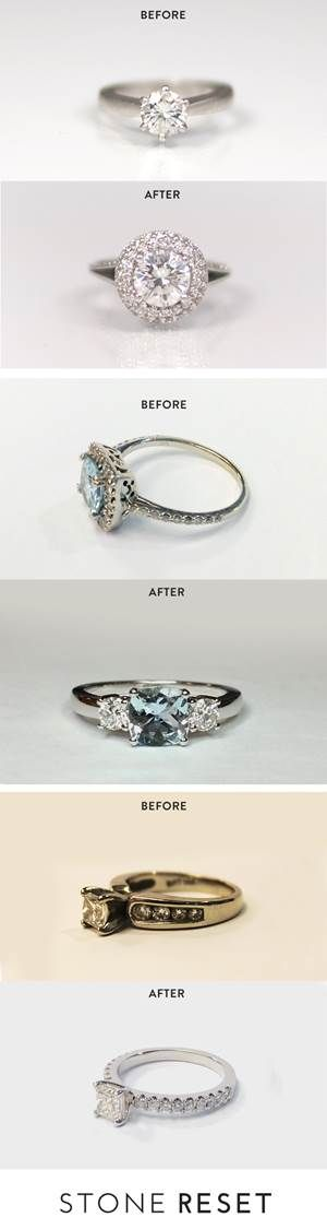 "Our halo resetter shared his story, ""When I proposed, I had a very simple setting and I promised my wife she could pick out whatever setting she wanted. Fast forward 10 years later, we never got around to upgrading her setting, and coincidentally her stone had started to come loose. She really wanted a halo design but wanted to keep the diamond as it had so much meaning. With Stone Reset, I was able to do both and the finished design was better than I could have imagined."""