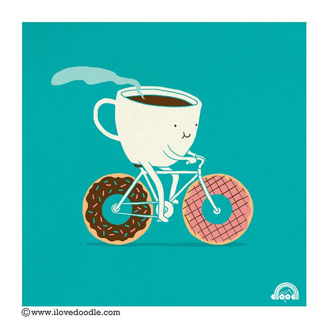 I love doodle,#illustration, #coffee, #donuts