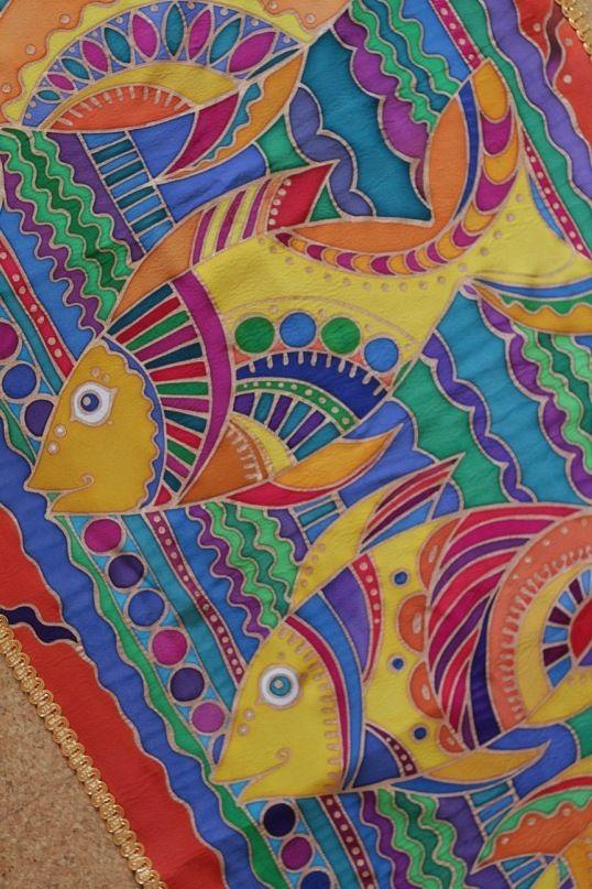 """Batik. """"Рыба"""". """"Рыбы"""". Горячий батик. Роспись ткани. Шелк.Лен. Декоративные панно. Интерьерные панно. hand-made"""