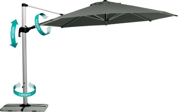 Sonnenschirm BEST Madeira 350 Ampelschirm in 3 Dimensionen verstellbar Verstellbar in 3 Dimensionen Der Schirm lässt sich mit Hilfe der Kurbel in 3 Dimensionen verstellen. um 360° drehbar neigbar entlang des Mastes seitlich kippbar entlang des Auslegearms