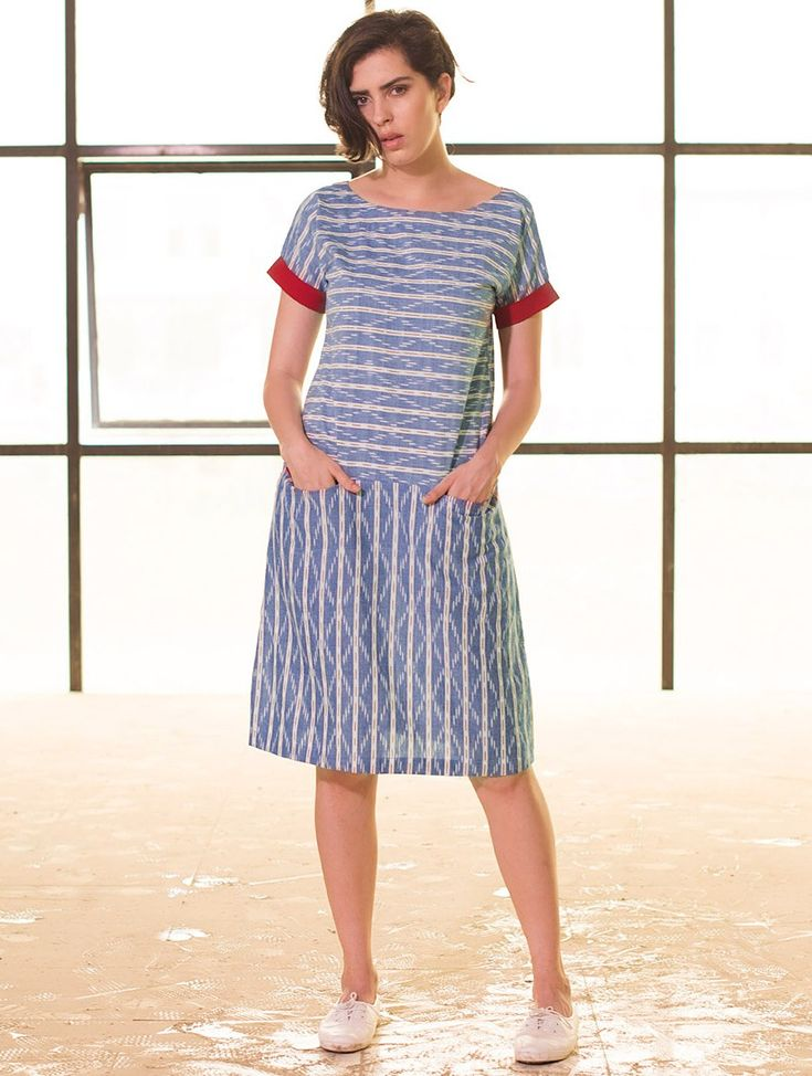 Buy Indigo Red Button Down Yoke Ikat Handloom Cotton Dress Apparel Tops & Dresses Whimsical Weaves Handwoven Online at Jaypore.com