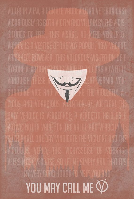 You May Call Me V 18x24 V for Vendetta Movie  Poster $30