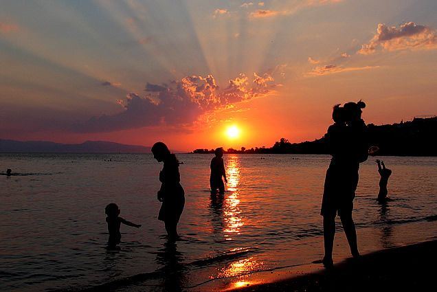 Sunset at Marathonas A beach on Aegina island