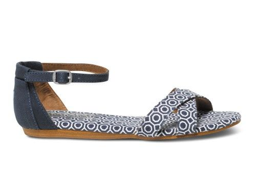 LOVE that these don't go between the toes--- I hate that! too bad I never get to wear sandals!  Navy Geometric Jonathan Adler Women's Correa Sandal | TOMS.com #toms
