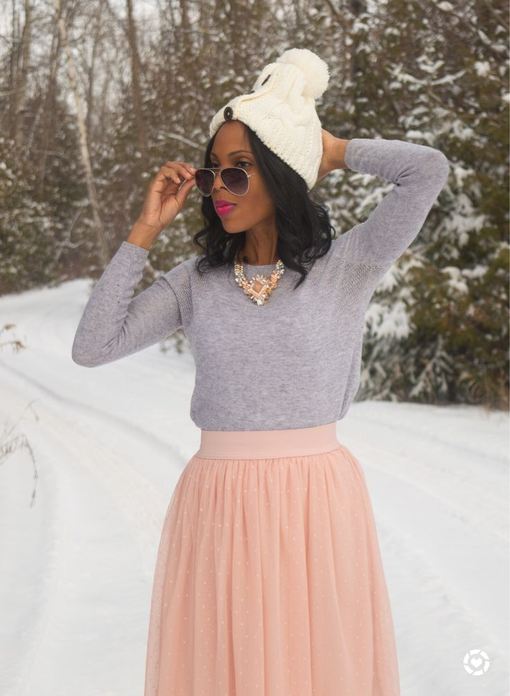 Pastel Outfit/Tulle skirt/ Winter Outfit/ wear to work style