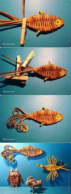 Золотая рыбка из газетных трубочек - мастер-класс