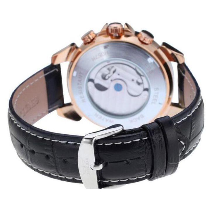 JARAGAR F120504 Fashion Automatic Mechanical Watch Date Display Leather Strap Men Wrist Watch at Banggood