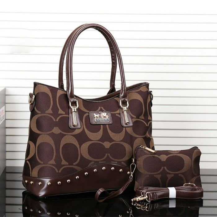 Coach Logo Monogram LZ723 Two-Piece Satchel In Coffee