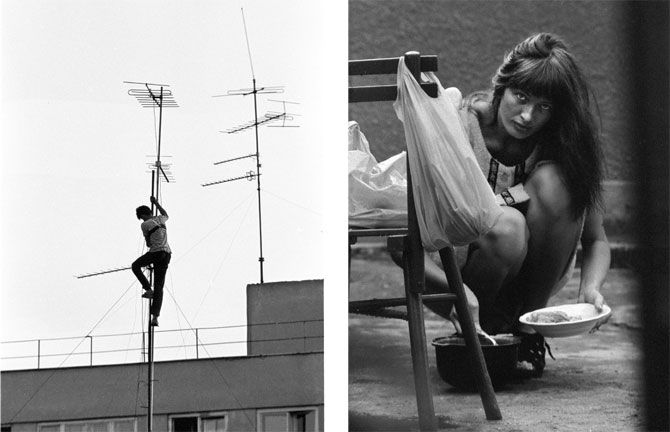 1989. Some football matches weren't broadcast on TV, so people would climb onto roofs and place antennas on them in order to watch the games through a Bulgarian signal. 1975. This woman is wearing a homemade dress. Clothes were made rather than bought, and any hole in your sock or blouse would be fixed immediately.