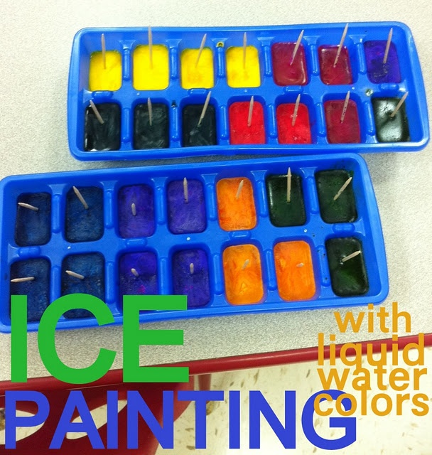 ice cubes make painting even more fun and less messy :)