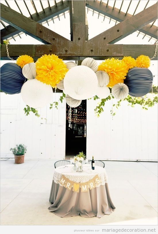 Idée décorer un mariage en bleu navy, jaune et blanc