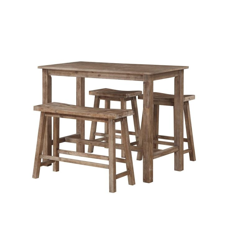 Boraam Ind. Sonoma Brown Wood 4-piece Pub Set With Table, Bench, and 2 Stools - Free Shipping Today - Overstock.com - 18929821 - Mobile