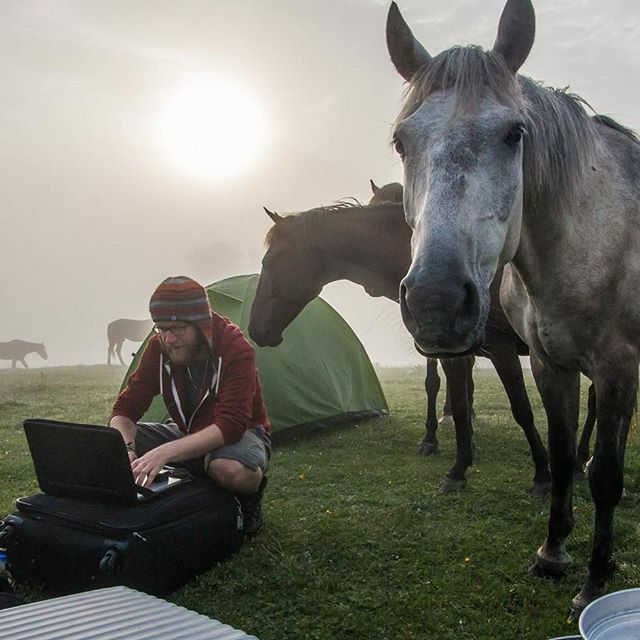 "In this unusual circumstences  somewhere in Georgia we finished our 3rd book ""Australia for 8$""! Keep in touch!  #busemprzezswiat #book #georgia #gruzja #horses #wildcamping #epic #morning #epicmorning #camping #livesimply #livefolk #livethelittlethings #digitalnomads @blueiceberg.pl @earthfocus"