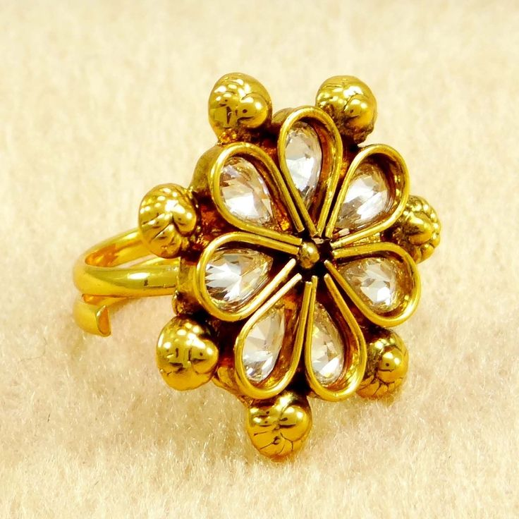 Traditional Gold tone CZ Adjustable #Ring Bollywood Women Wedding Jewelry