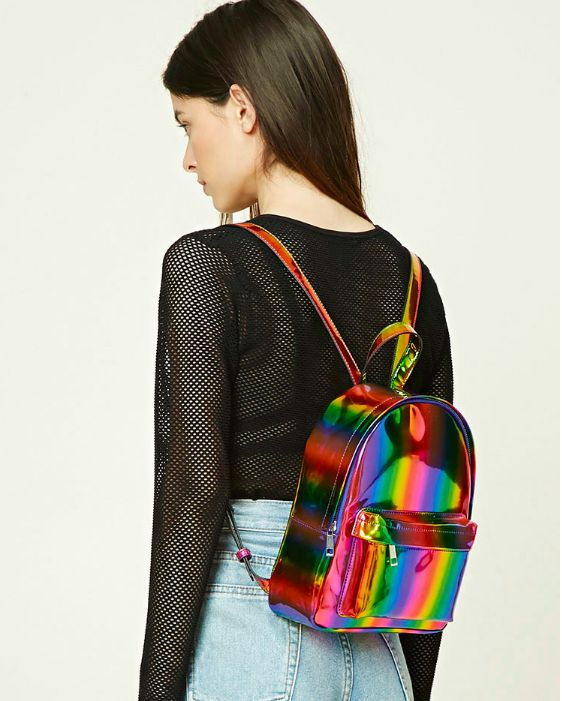 A glossy rainbow backpack for anyone who shines on in the stormiest weather. | 34 Of The Best Gifts To Buy At Forever 21