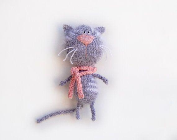 Crochet Cat toy tabby gray white kids childrens by RomeoShop