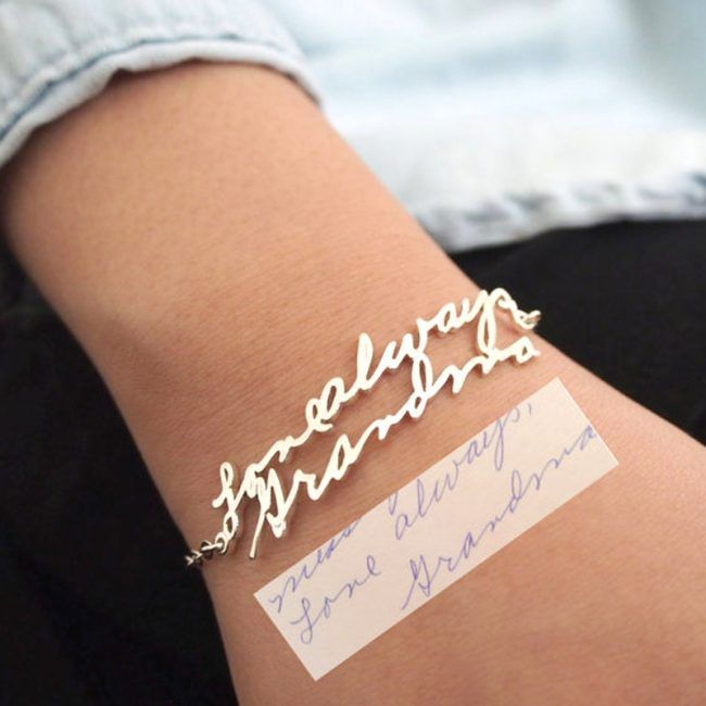 Beautiful Handwritten Signature Bracelet - Great Christmas gift idea for any woman.