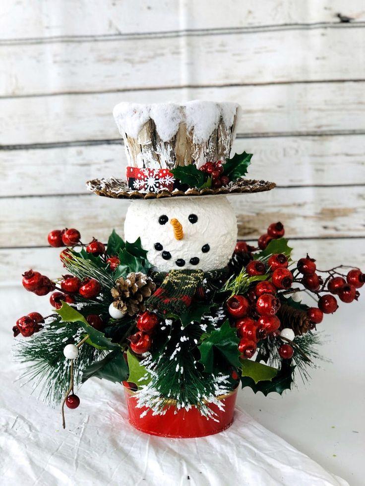 Christmas centerpiece, Christmas Snowman, Winter Snowman