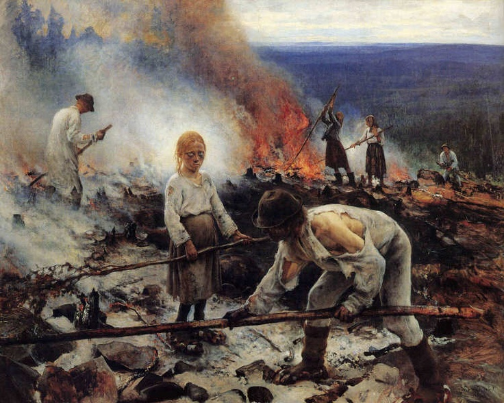 """Shifting cultivation in 1893 by a family in Lapinlahti, Central Finland. Painting entitled """"Kaski / Raatajat Rahanalaiset"""" (""""Under the Yoke of Money / Burning the Brushwood"""") painted on the spot at Koli by Eero Järnefelt, one of the foremost Finnish painters of the time (Finnish National Gallery)."""